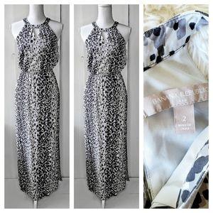 Banana Republic Gray & Mauve Speckled Maxi Dress